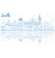 Outline Seville Skyline with Blue Buildings vector image