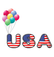 The USA letters with colorful balloons vector image