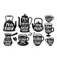 tea coffee label set vintage kettle teapot cup vector image