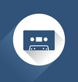 Modern audio icon with cassette and long shadow vector image