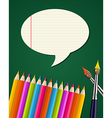 Back to school supplies set with talk bubble vector image