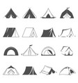 hiking and camping tent icons tourism and vector image