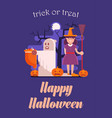 trick or treat halloween postcard vector image