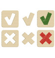 yes and no cardboard icons vector image