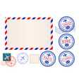 collection of postal elements envelope and stamp vector image