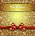 Christmas Card Snowflake Gold Bow vector image