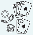 Gambling Cards and chips vector image vector image