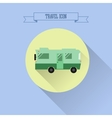 RV camping icon Caravan button in flat design vector image