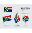 Set of South African pin icon and map pointer vector image