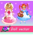 Two cute little dolls on a pink background vector image