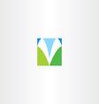 blue green v letter icon symbol vector image