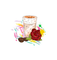 rose with colorful splashes vector image vector image