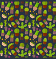 cartoon cactus plant in pots background pattern vector image