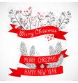 Christmas greeting banner with decorative elements vector image