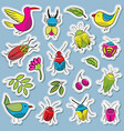 cute and funny bugs with birds and plants vector image