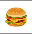 double cheeseburger sandwich street fast food vector image