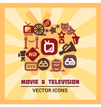 colorful cinema icons vector image
