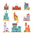 ancient castles and fortresses set various vector image