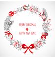 Decorative Christmas wreath celebration postcard vector image