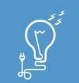 Symbolic light bulb with cord and electric plug vector image
