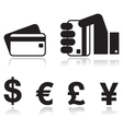 Payment methods icons set - credit card by cash vector image