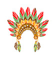 chief war bonnet with feathers native indian vector image