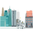 flat urban landscape skyline background vector image