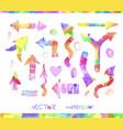 graphic signs colorful watercolor arrows vector image