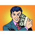 Rich with wads of dollars business concept vector image