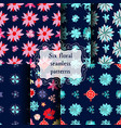 set of seamless patterns with beautiful flowers vector image