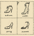woman shoes doodle set vector image