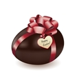 Chocolate egg with greeting card vector image