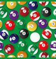 set of color billiards balls seamless pattern vector image