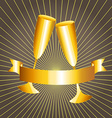 Gold cups and ribbon banner vector image