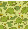 frogs and water lily vector image vector image