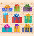 christmas holiday gift stickers set on a beige vector image
