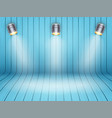 curved wooden background with spotlights vector image