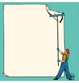 worker painter sticks white poster vector image