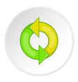 Recycling sign icon cartoon style vector image