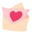 Envelope with pink valentine heart icon vector image