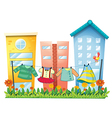 Washed clothes hanging in the garden with a bird vector image vector image