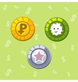 Set of three coins for design needs vector image