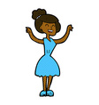 comic cartoon woman with raised arms vector image