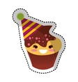 cupcake character kawaii with party hat vector image