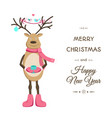 merry christmas smiling reindeer card template vector image