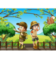 A girl and a boy at the wooden bridge vector image