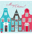 Retro Christmas Invitation Card - Christmas Houses vector image vector image