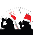 girl in red christmas hat drinking vector image