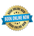 book online now 3d gold badge with blue ribbon vector image