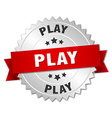 play 3d silver badge with red ribbon vector image